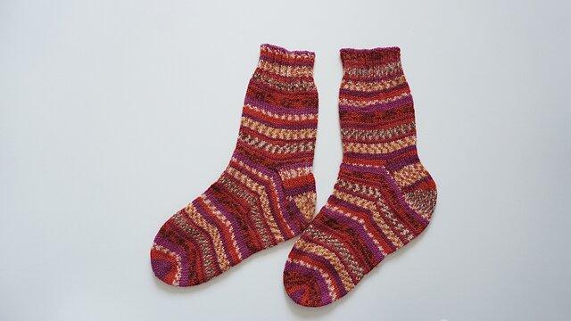 手編みの靴下 少し大きめサイズの画像1枚目