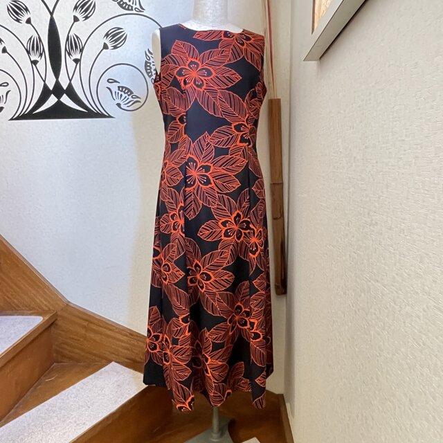気分を明るく!浴衣地ワンピースドレス 旱星の画像1枚目