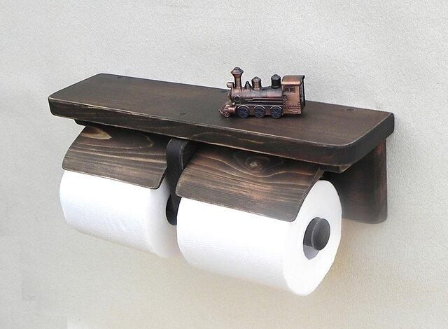 木製トイレットペーパーホルダー Ver.13(ブラウン アンティック風)の画像1枚目