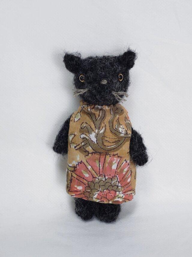 おしゃれな黒ネコさん(あみぐるみ)の画像1枚目