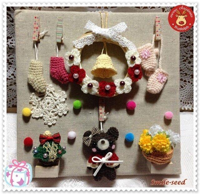 クリスマスキャンバスボード(くま)の画像1枚目