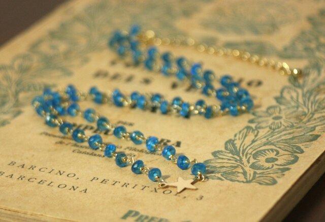宝石質AAA*14kgf天然石ブルーアパタイト ネックレス クリスマス 誕生日 プレゼント 結婚式 ブライダル  ウエディングの画像1枚目