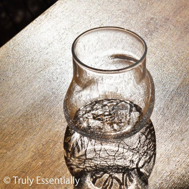 無色透明のグラス - 「KAZEの肌 」#337・ 高さ8.5cm●【 1点限定制作 】の画像1枚目