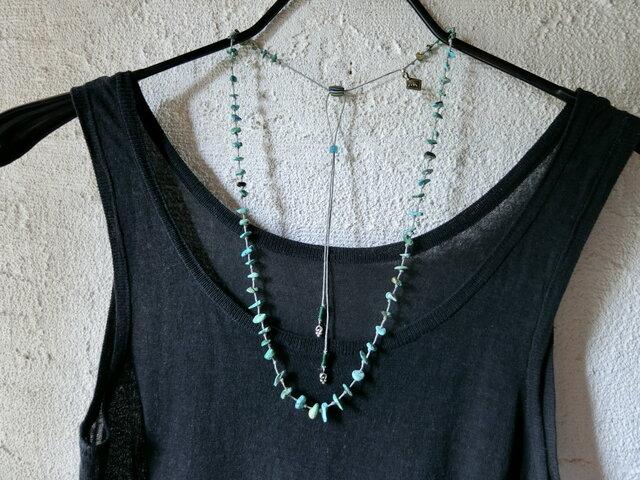 *happy price*ターコイズのカタチ* turquoiseの結びネックレスの画像1枚目