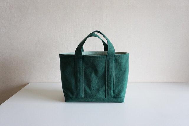 TOTE BAG -bicolor- (M) / darkgreen × mintの画像1枚目