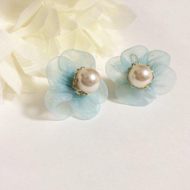 Chiffon Flower ピアス-blue-の画像1枚目