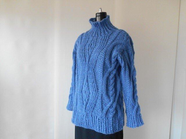 ブルーモヘアの模様編みセーター(S様専用)の画像1枚目