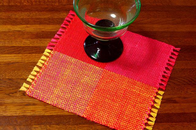 手織り カラーリネンのリバーシブルミニマット(№9)の画像1枚目