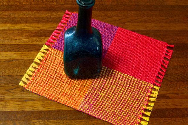 手織り カラーリネンのリバーシブルミニマット(№10)の画像1枚目