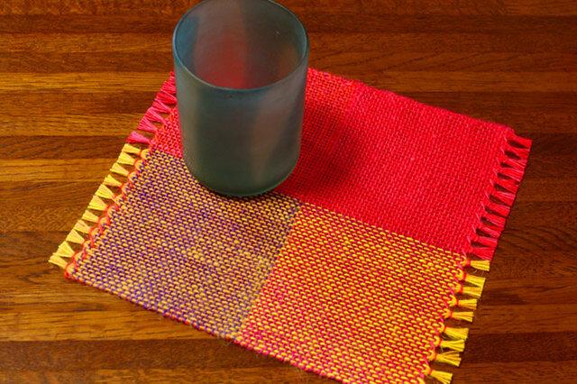 手織り カラーリネンのリバーシブルミニマット(№11)の画像1枚目