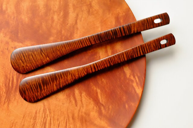 Benifuji様リクエスト分 栃材縮杢の木べら(拭き漆)一式の画像1枚目