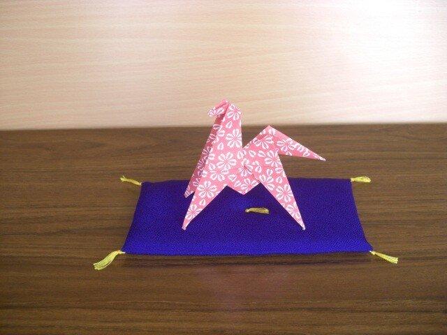 置物用お座布団 干支の置物に 長座布団ちりめん紫の画像1枚目