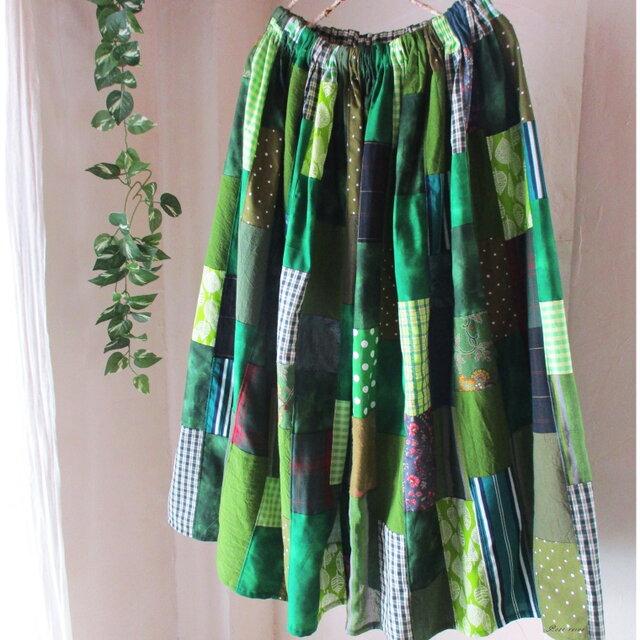 Green♥絵画なパッチワーク ロングギャザースカート リネン コットン ウエストゴムの画像1枚目