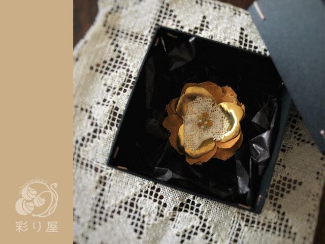 ブローチ【真鍮の花】マスタードの画像1枚目