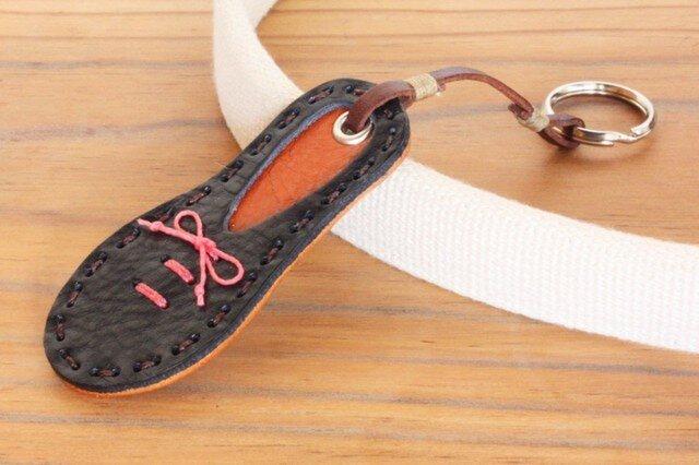 靴型のキーホルダー NV×BR #4-1 (イタリアンレザー)の画像1枚目