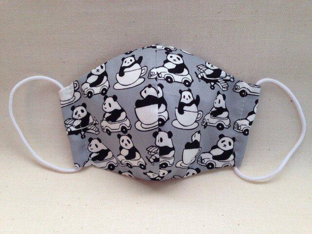 グレー・乗り物パンダ柄子供用立体マスクの画像1枚目