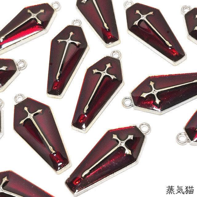 赤い十字架エナメルチャーム シルバー 4個【クロス ピアスパーツ イヤリング素材】の画像1枚目
