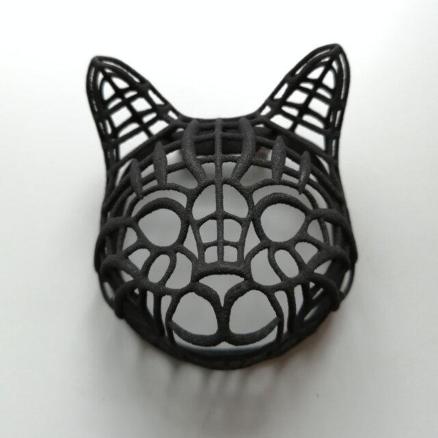 ネコ ブローチ 黒の画像1枚目