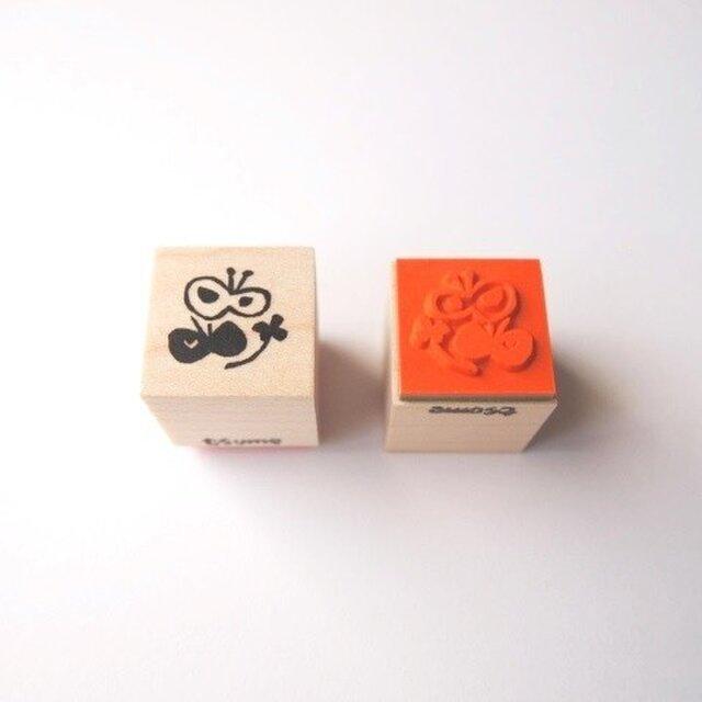 <ゴム製スタンプ>ちょうちょ と 四つ葉(春)の画像1枚目