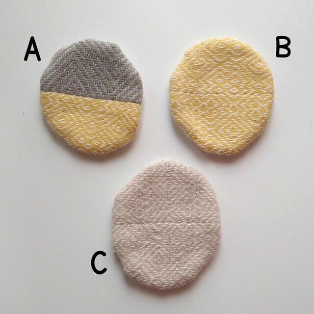 ウールとコットンを合わせた一年中使える円形コースター 北欧風 Bの画像1枚目