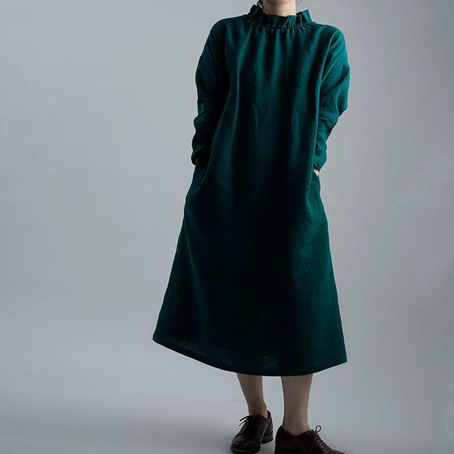 【wafu 入門編】数量限定!Linen Dress シャーリングハイネック ドレス/ビリジアン a008f-vrj2の画像1枚目
