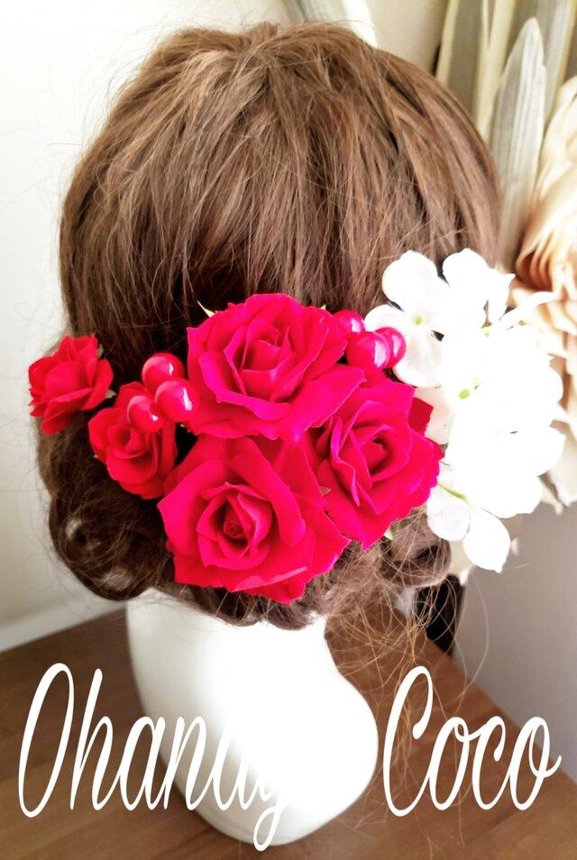 真っ赤な薔薇と真っ白紫陽花の髪飾り9点Set No814の画像1枚目