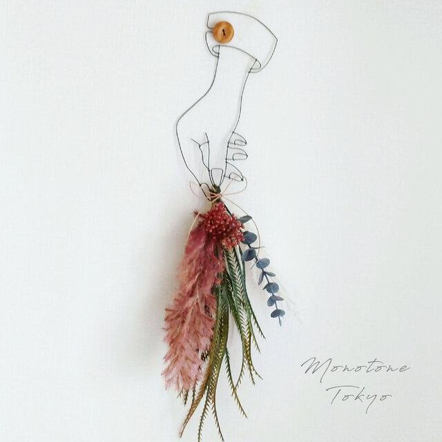 Wire Wall Art Artificialflower ( Bouquet red )の画像1枚目