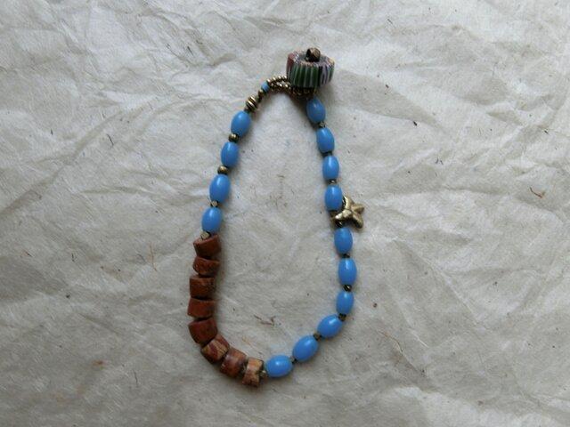 *古のブレス@ボヘミアのオールドビーズとアフリカのボーキサイトベネチアのミルフィオリ#LLsizeの画像1枚目