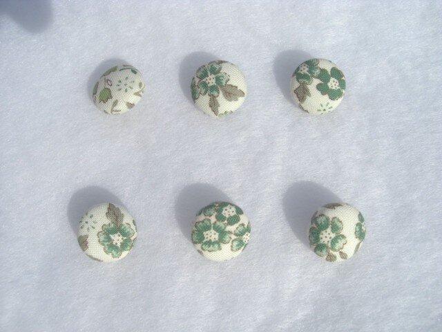くるみボタン6個組 緑小花 私だけの一着にの画像1枚目