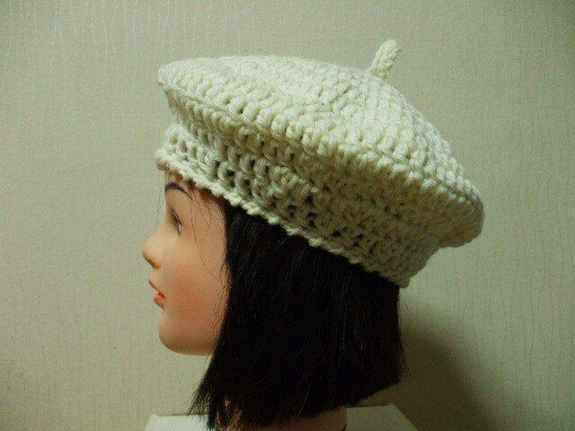 ニットベレー帽 成人女性用 オフホワイトの画像1枚目