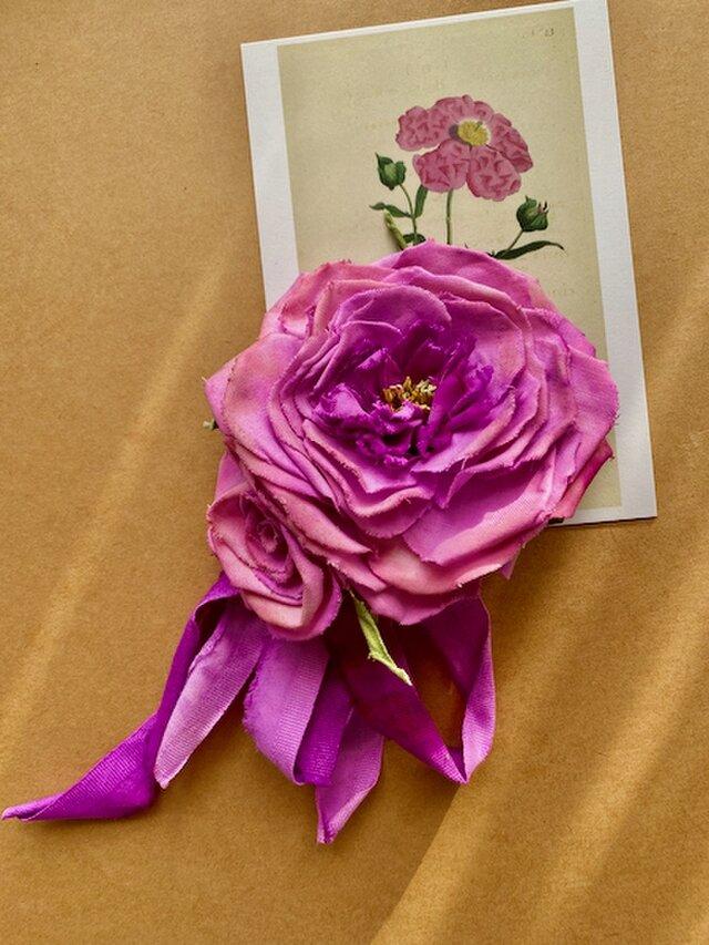 布花 大きな木綿のピンクローズコサージュの画像1枚目