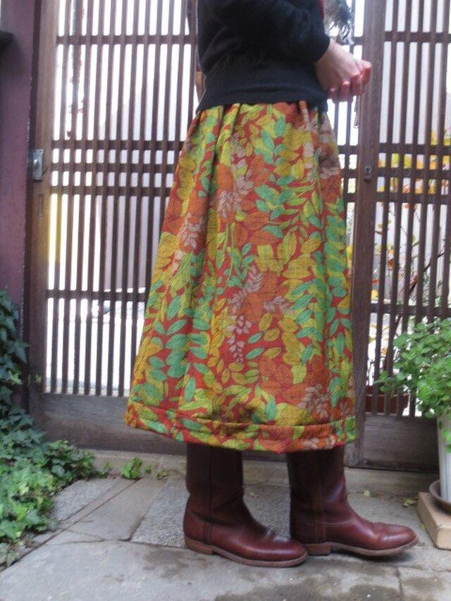 着物リメイク☆草木模様で暖かウールスカート♪75㎝丈の画像1枚目