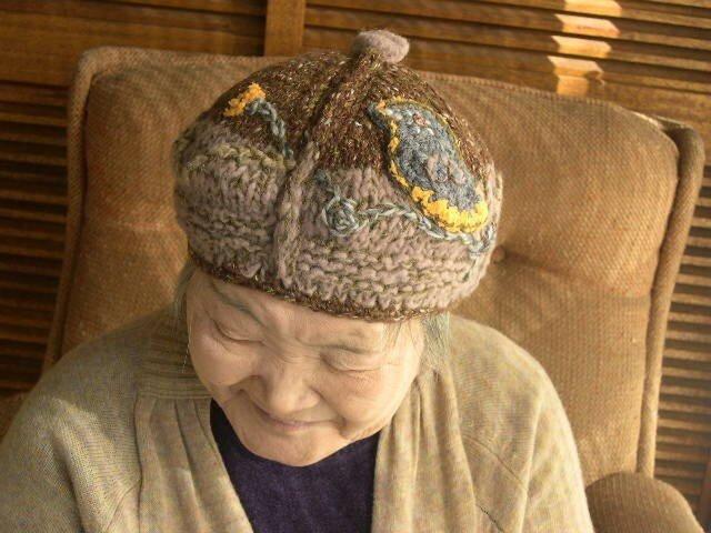 鳥と葉っぱベレー帽子の画像1枚目