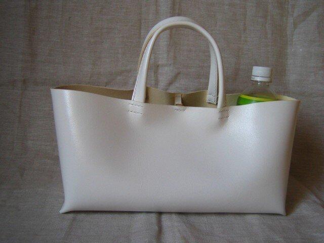 【W様オーダー品】横長トートバッグ(白色・M)の画像1枚目
