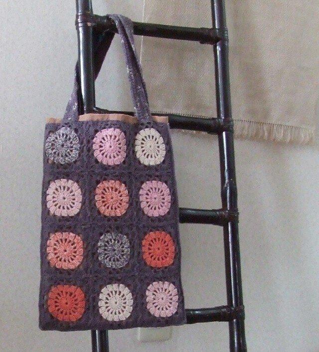 手編みモチーフバッグ・・マルの画像1枚目