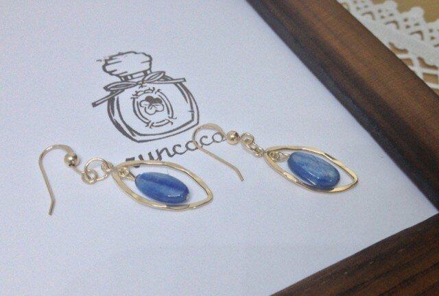 sold ★14kgf★カイヤナイトのピアス* blue*の画像1枚目
