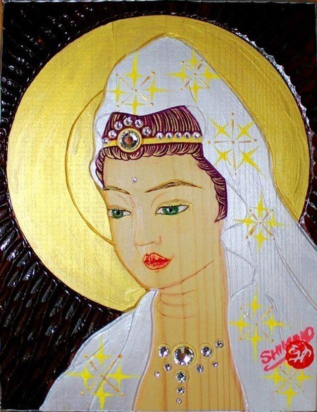 開運 癒彩 観世音    色の四十    白絹に檸檬衣観音の画像1枚目