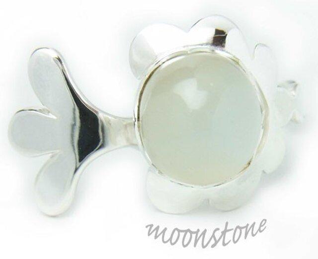 ころっとムーンストーンの雲・羽イメージのリングの画像1枚目