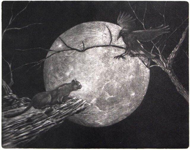 銅版画シート:領域(黒猫と烏)の画像1枚目