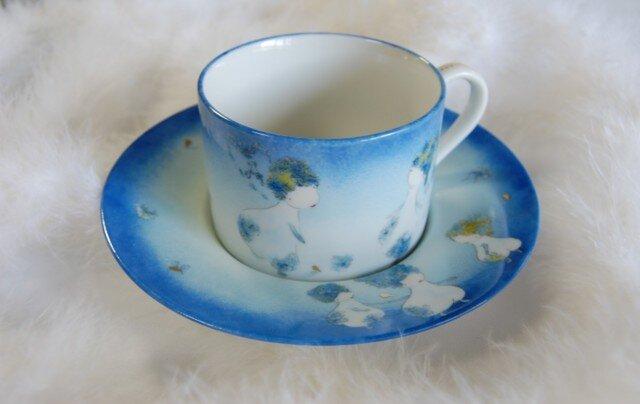 受注製作!ティーカップ(花の物語ブルー)の画像1枚目