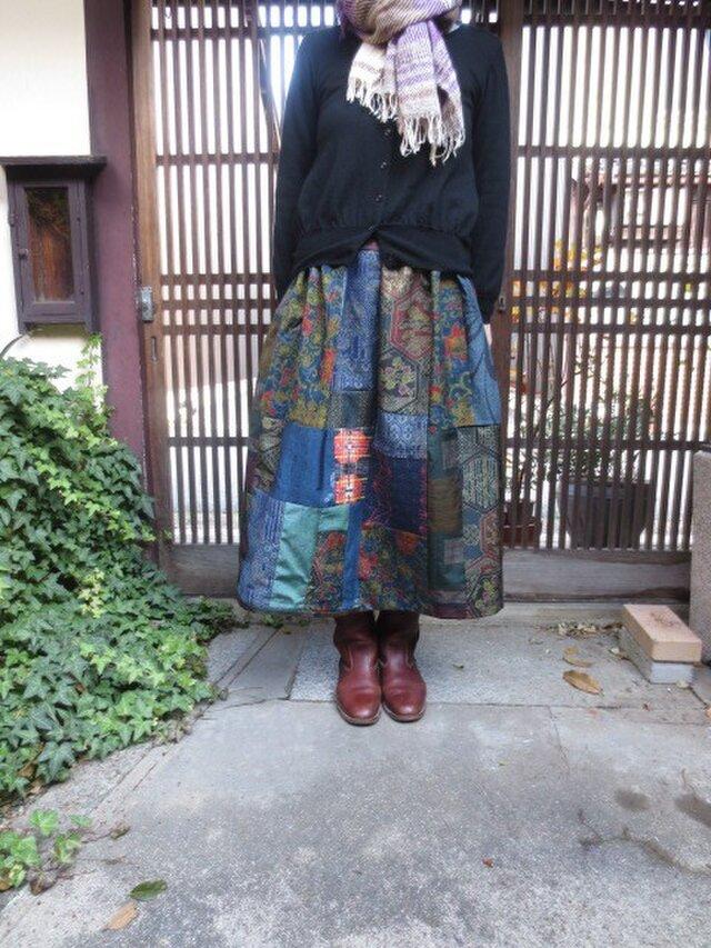 着物リメイク★上品な大島紬色々集めてパッチ&パッチ80cm丈の画像1枚目