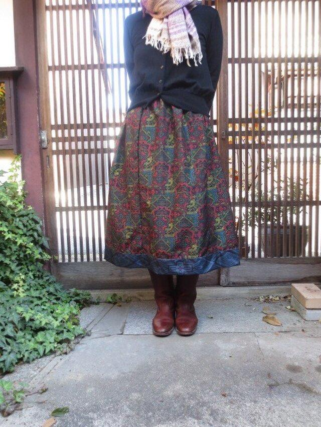 着物リメイク☆赤黄緑など華やか大島紬に裾藍切り替え76cm丈の画像1枚目