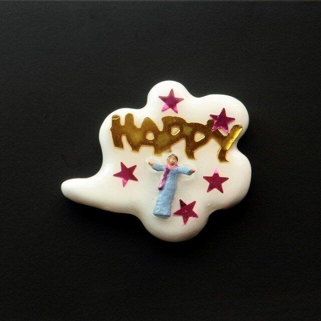Happy people ピンブローチ #03の画像1枚目