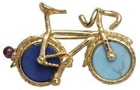天然石 自転車(小) ブローチの画像1枚目