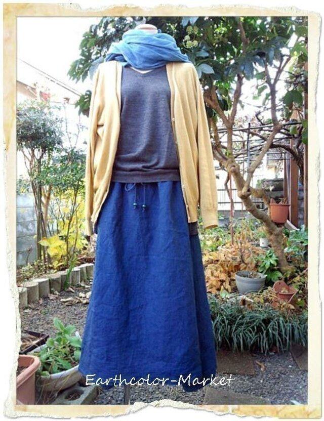 自然染め リネン藍染ドレ-プスカ-トの画像1枚目