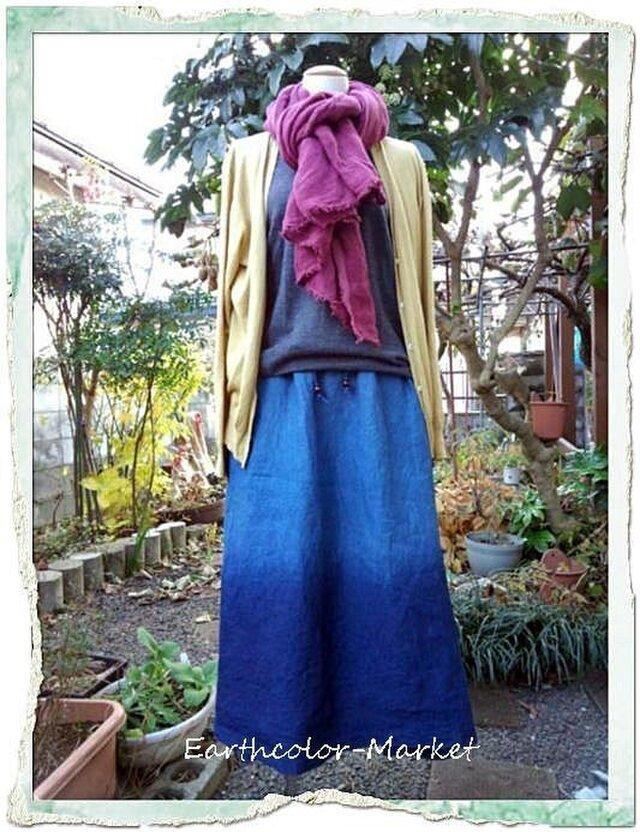 自然染め リネン藍染めドレ-プグラデ-ションスカ-トの画像1枚目