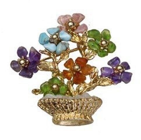 天然石 花シリーズ(花鉢) ブローチの画像1枚目