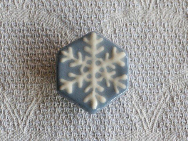 帯留め兼用ブローチ『雪の結晶B』の画像1枚目