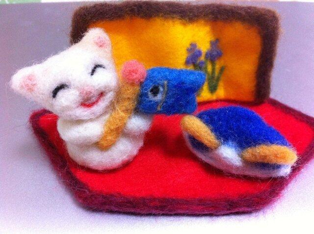 羊毛フェルト★にこにこネコさん こいのぼりの画像1枚目