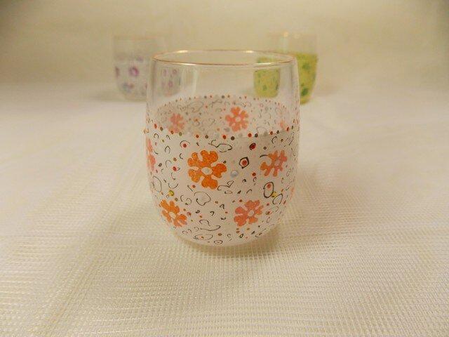 キラキラミニグラス花とドットOrの画像1枚目